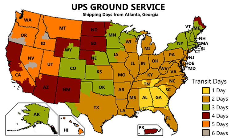 ups ground chart-atlanta